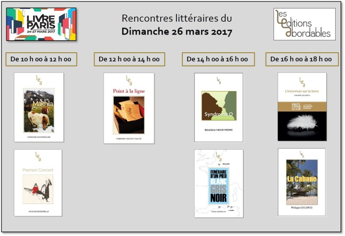 Planning 26 mars salon du livre de paris 2017